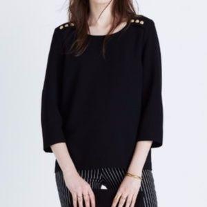 Madewell et Sezane Black Colette Top Blouse Size S
